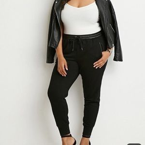 Forever 21 Plus Faux Leather Trim Joggers